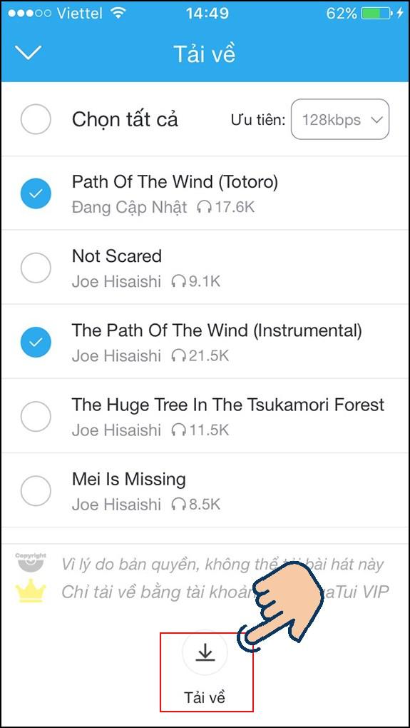Nhấn Tải về để tải những bài hát bạn đã chọn trong Playlist.