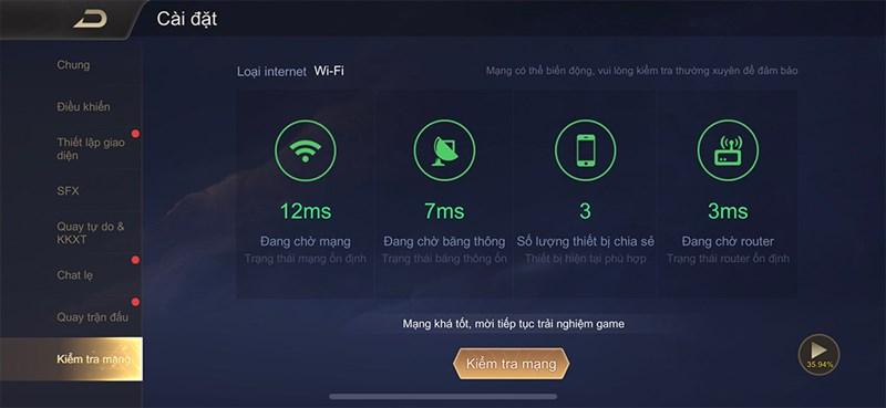 Kiểm tra kết nối mạng trong cài đặt game