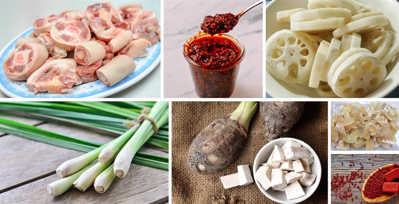 Nguyên liệu món ăn lẩu đuôi bò