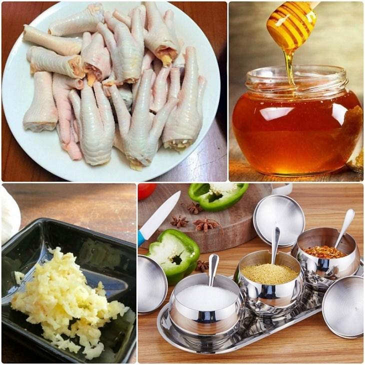 Nguyên liệu món ăn chân gà nướng mật ong và muối ớt