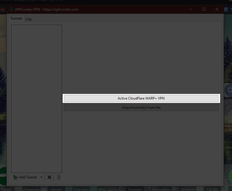 nhấn Active CloudFlare WARP+ VPN