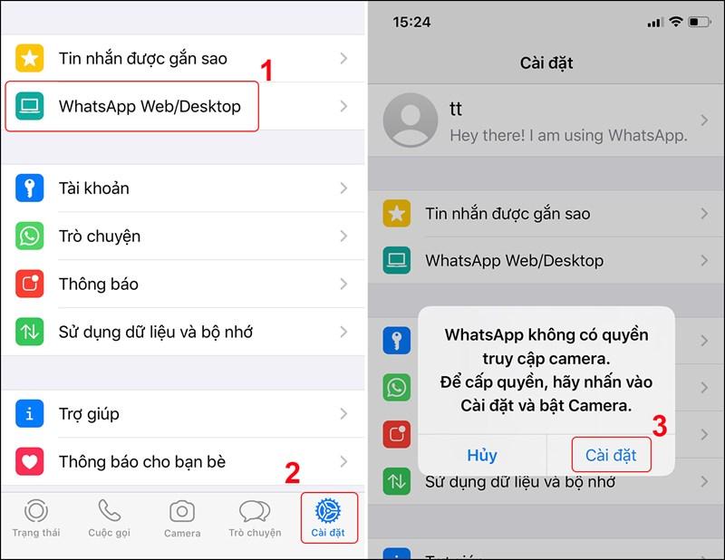 Nhấn WhasApp Web/ Desktop và chọn Cài đặt