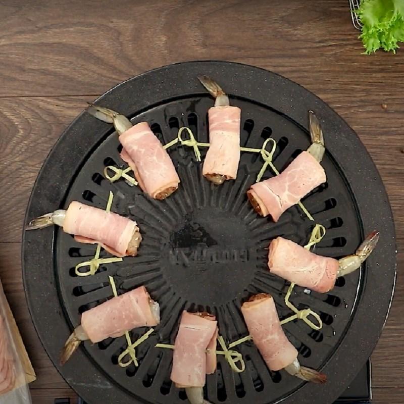 Bước 4 Nướng ba rọi cuộn tôm ba rọi xông khói cuộn tôm nướng