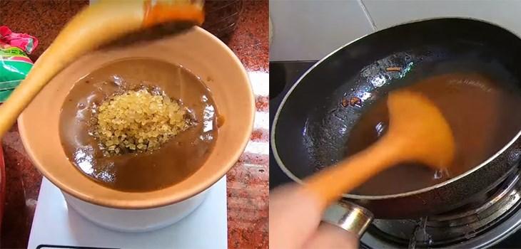 Bước 2 Pha nước chấm chua ngọt Bánh tráng cuốn sốt me chua ngọt