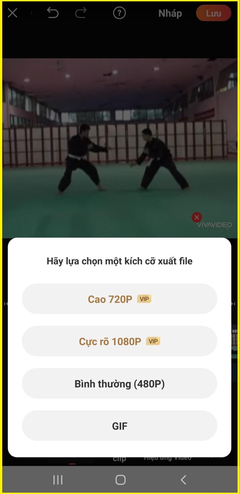 Chọn chất lượng video xuất bản