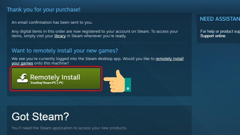 Nhấn Remotely Install để cài game