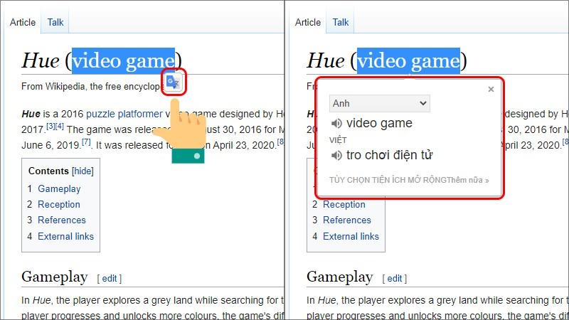 Bôi đen từ cần dịch và chọn biểu tượng Google Dịch hiển ra