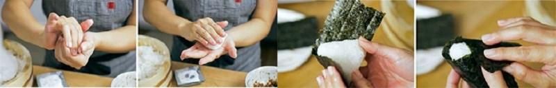 đặt lên trên đỉnh đầu cơm nắm một chút cá hồi ướp muối, umeboshi (mận ngâm Nhật Bản), okaka trộn, kombu hoặc cá ngừ sốt rán
