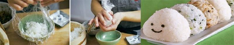 Nắm cơm với khăn hoặc màng nhựa