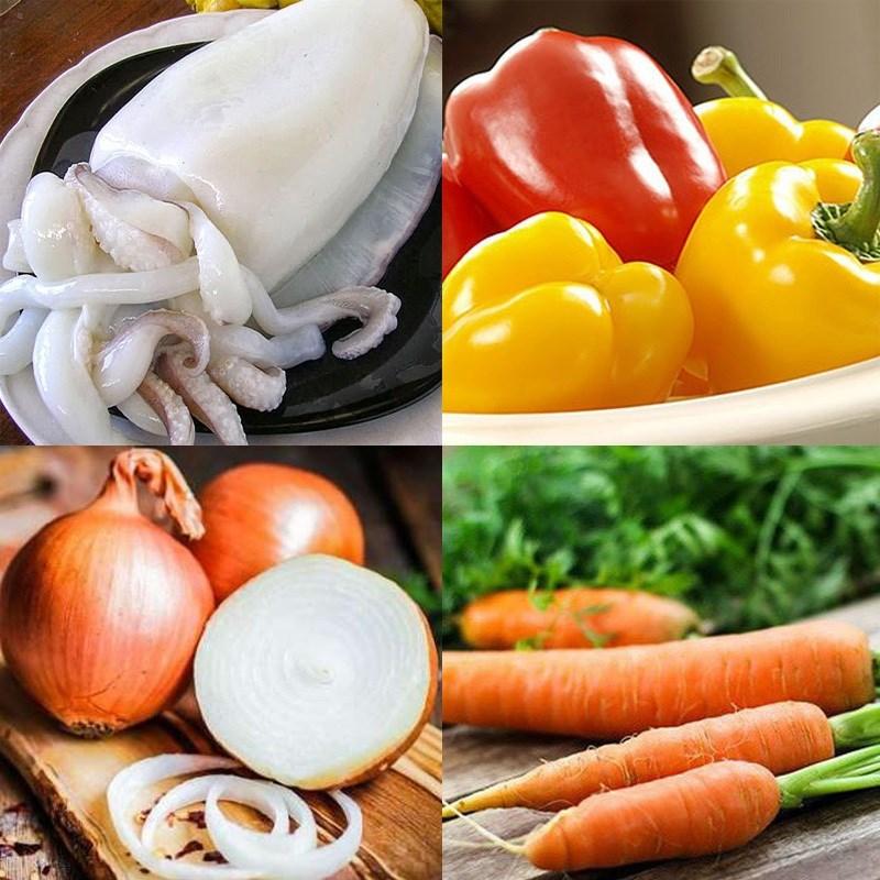 Nguyên liệu món ăn mực xào chua ngọt