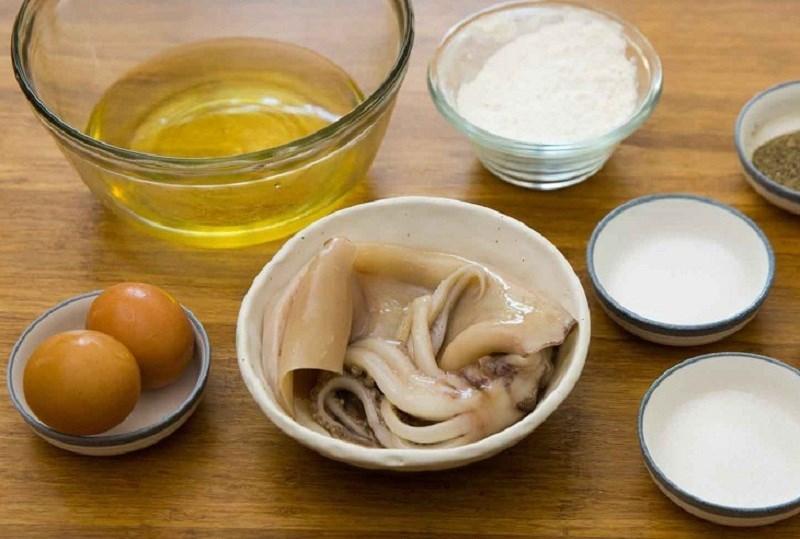 Nguyên liệu món ăn mực chiên giòn, mực chiên xù