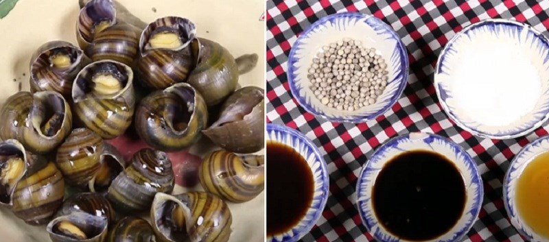 Nguyên liệu món ăn ốc hấp tiêu, hấp sả kiểu thái