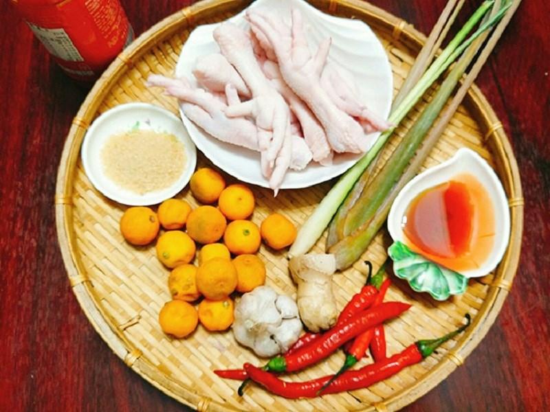Nguyên liệu món ăn 3 cách làm chân gà sả tắc