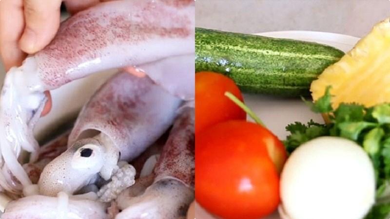 Nguyên liệu món ăn 3 cách làm món mực xào với rau củ