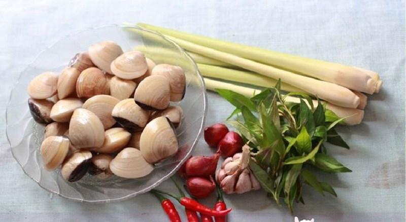 Nguyên liệu món ăn ngao (nghêu) hấp sả, hấp bia, hấp dứa