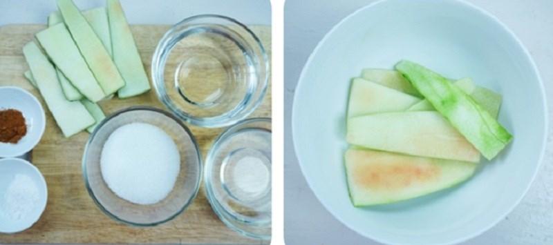 Nguyên liệu món ăn 3 cách làm vỏ dưa hấu ngâm