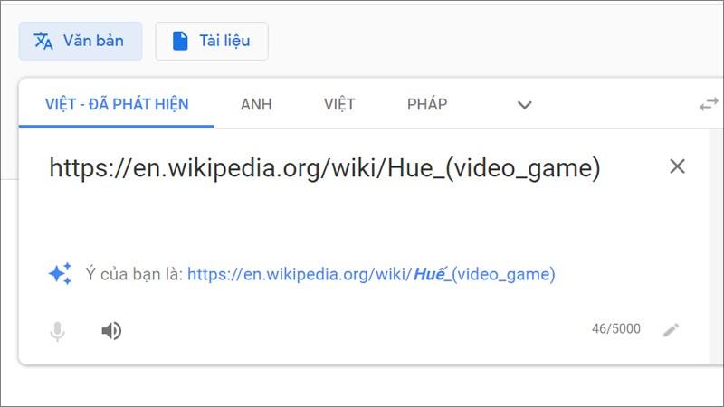 Dán link trang web muốn dịch toàn bộ vào khung dịch bên dưới