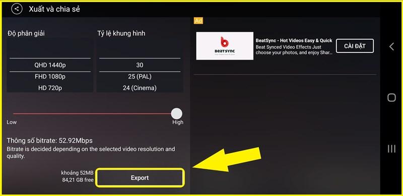Chọn chất lượng video xuất bản > Export