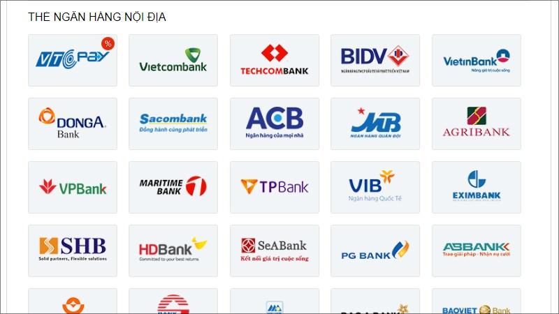 Chọn thẻ ngân hàng nội địa