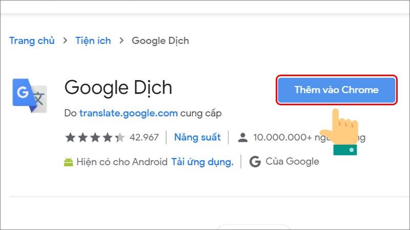 Thêm tiện ích Google Dịch vào Chrome