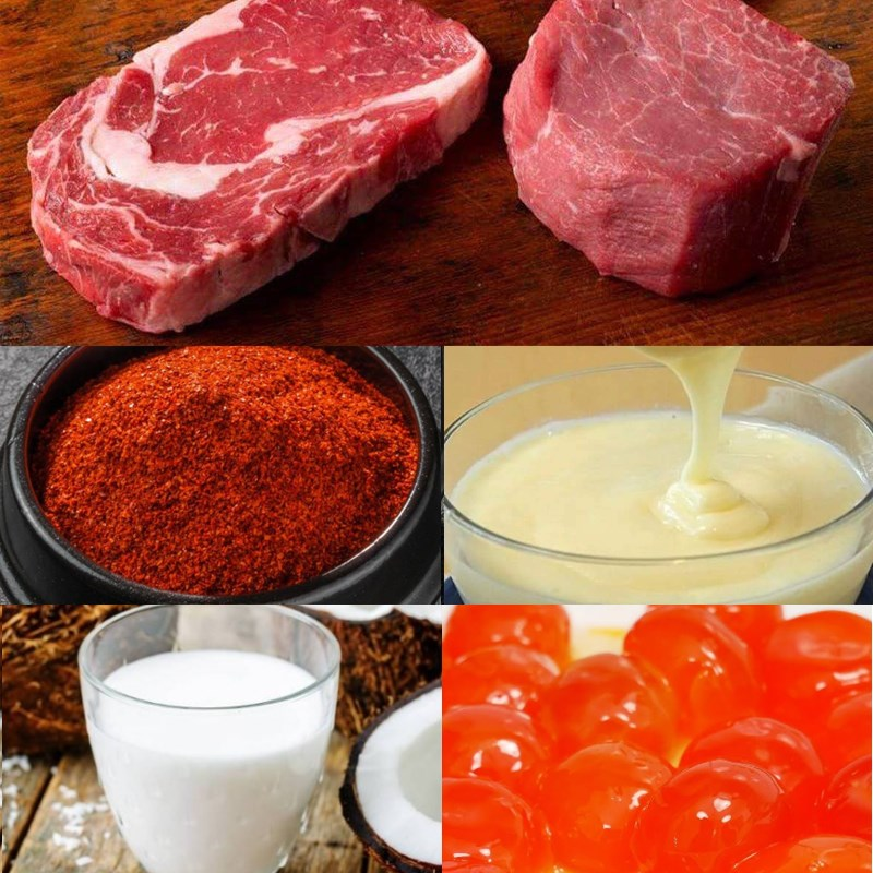 Nguyên liệu món ăn 3 cách nướng thịt bò cuộn hành, thịt bò cuộn phô mai, thịt bò sốt trứng muối