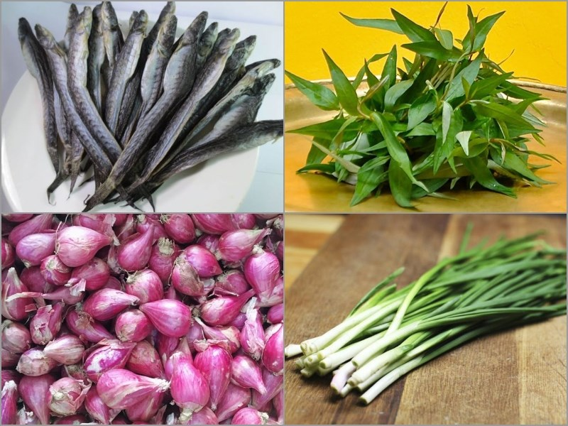 Nguyên liệu món ăn cá kèo kho rau răm