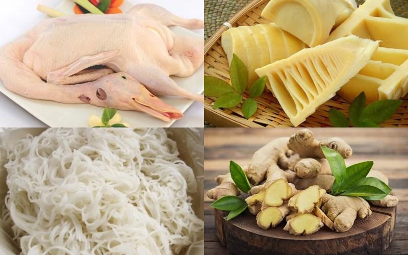 Nguyên liệu món ăn bún măng vịt