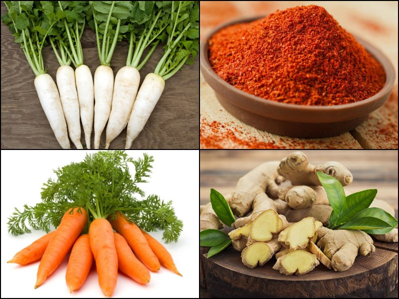 Nguyên liệu món ăn kim chi củ cải chay