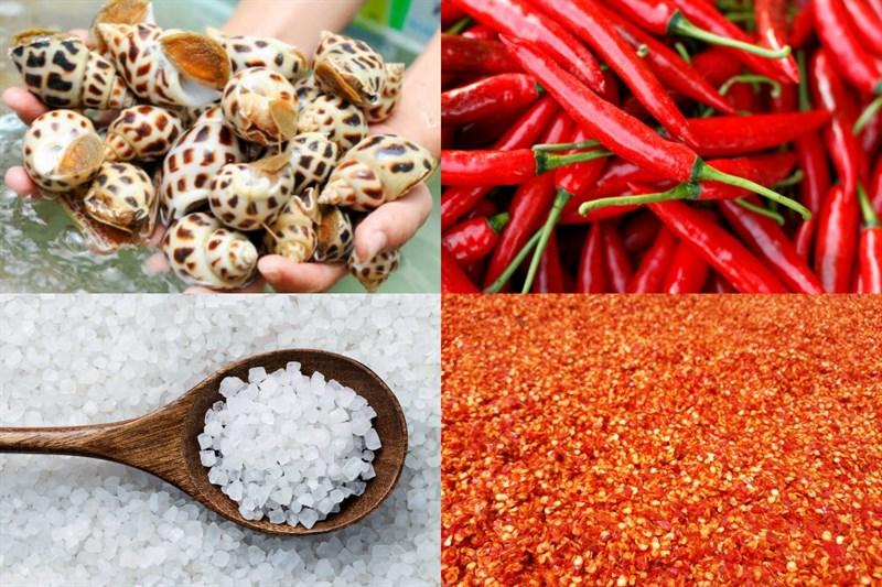 Nguyên liệu món ăn 2 cách làm ốc hương rang muối và cháy tỏi
