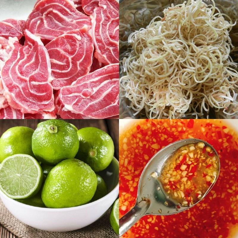 Nguyên liệu món ăn gỏi bắp bò hoa chuối