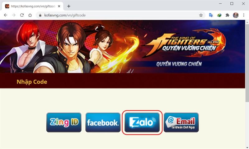 Chọn kênh đăng nhập theo đúng tài khoản game bạn đang dùng