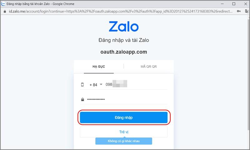 Nhập thông tin để đăng nhập tài khoản