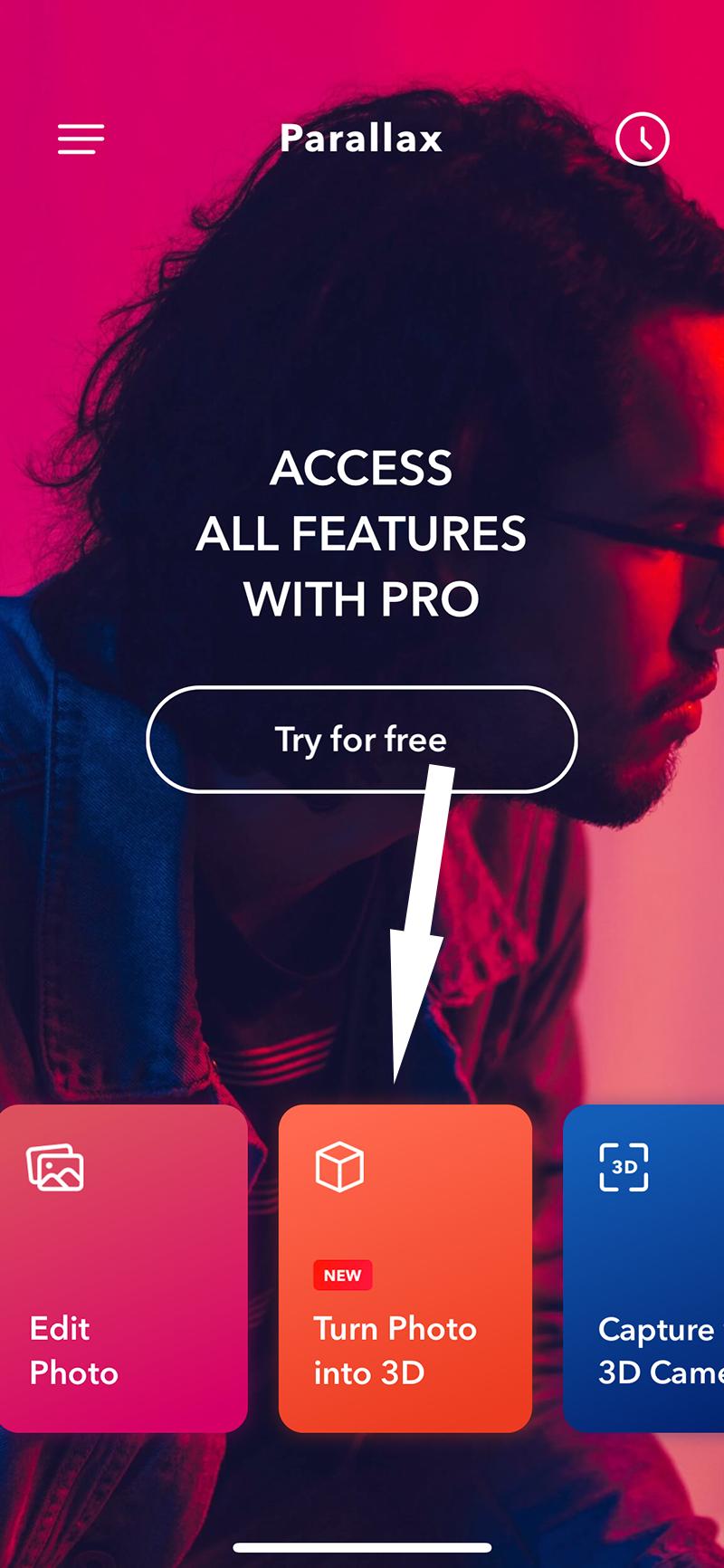 ại giao diện chính của ứng dụng, bạn chọn mục Turn Photo into 3D.