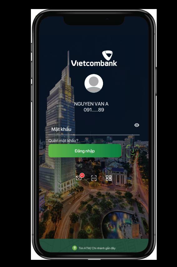 Đăng nhập vào ứng dụng Vietcombank