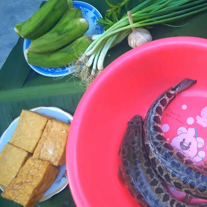 Nguyên liệu món ăn cá lóc om chuối đậu
