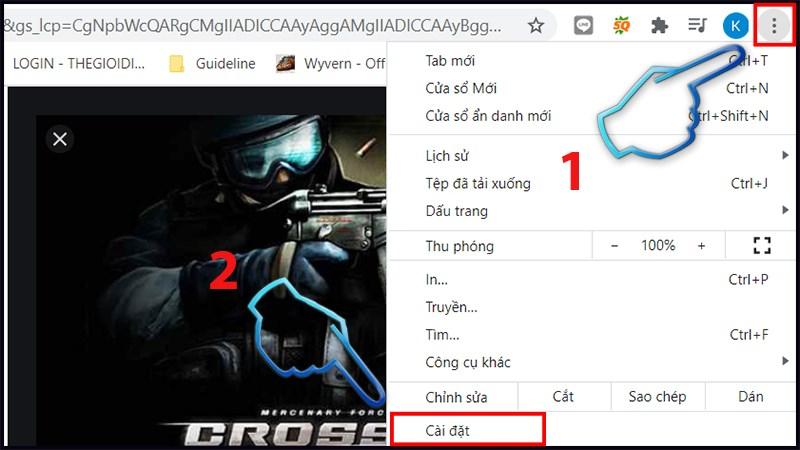 Bước 1: Vào trình duyệt Chrome trên máy tính > Chọn cài đặt.