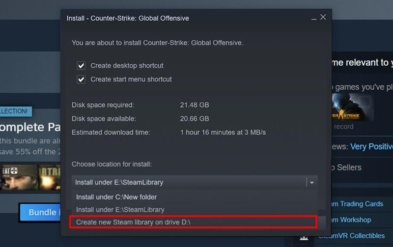 """chọn """"Create new Steam library on drive D:/"""""""