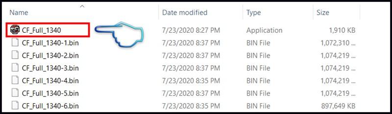 Bước 5: Nhấn mở CF_FULL_1340 tại thư mục bạn tải về.