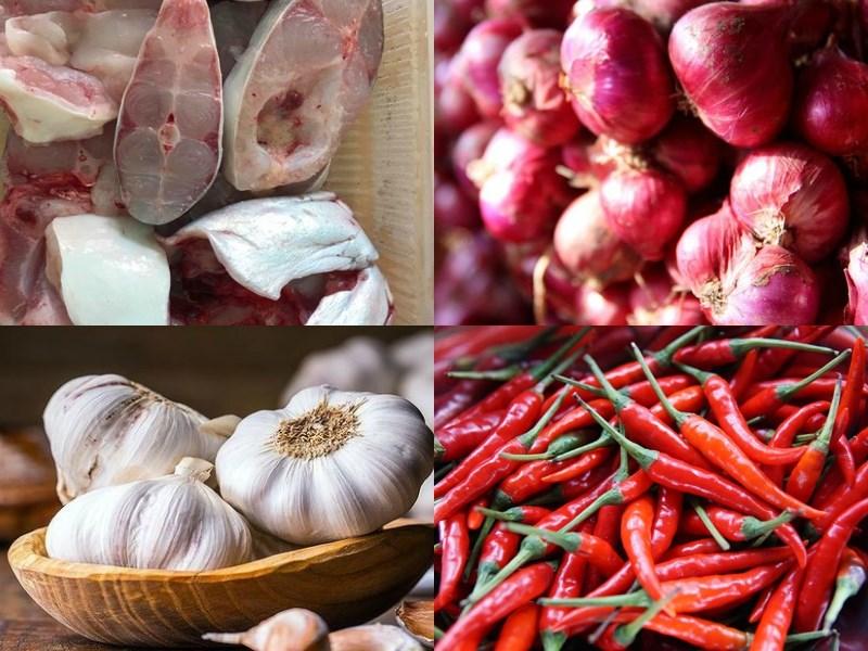 Nguyên liệu món ăn cá hú kho tộ và cá hú kho thơm (dứa)