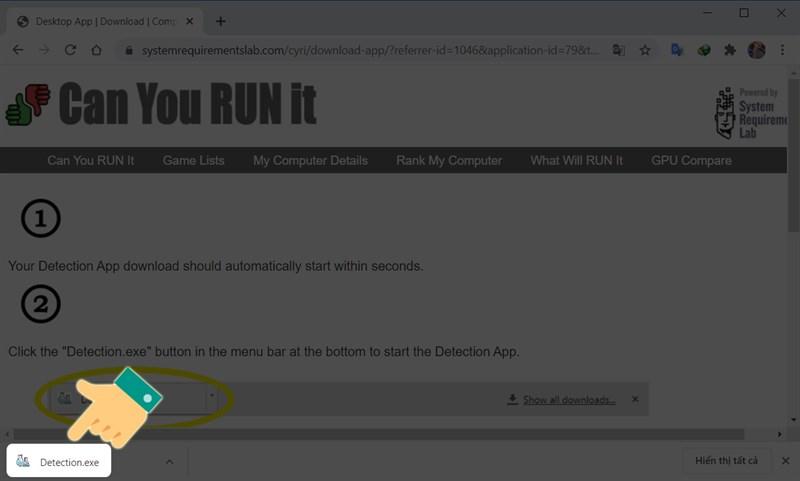 Mở file Detection.exe vừa được tải về