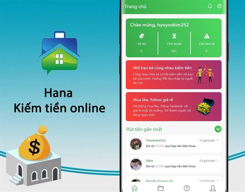 Ứng dụng kiếm tiền online Hana