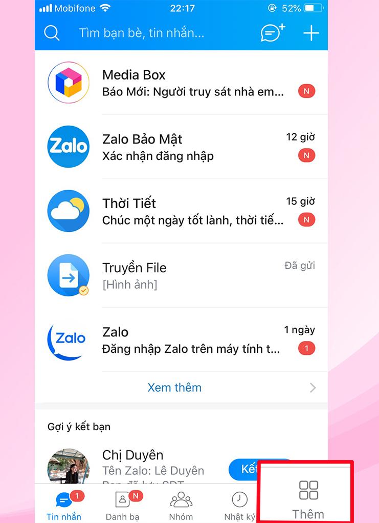 Truy cập vào tài khoản Zalo trên điện thoại > nhấn vào Thêm