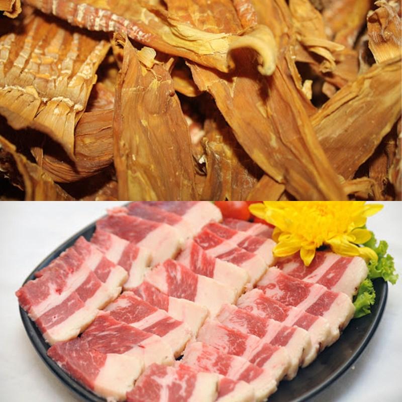 Nguyên liệu món ăn thịt xào măng khô, thịt kho măng khô