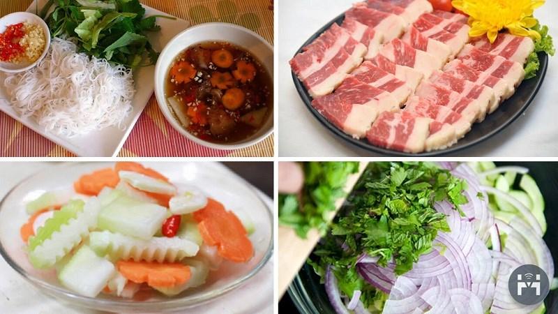 Nguyên liệu món ăn bún chả hà nội