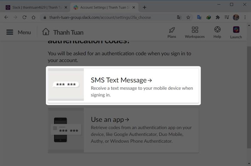 Chọn SMS Text Message để nhận tin nhắn văn bản đến thiết bị di động