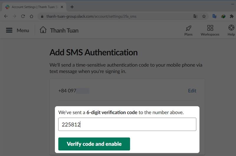 Nhập mã code 6 số được gửi về số điện thoại của bạn