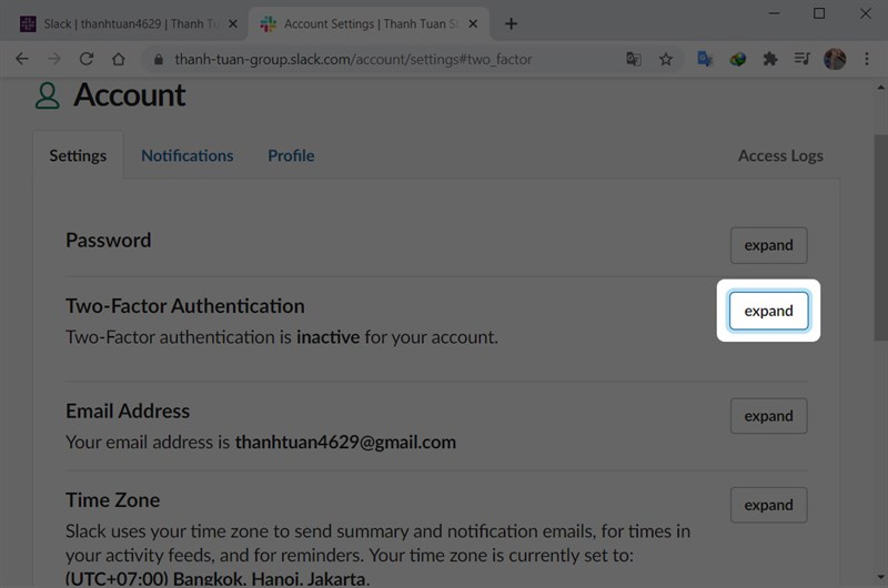 Tại mục Two-Factor Authentication chọn expand