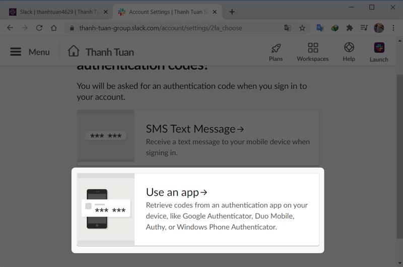 Chọn Use an app để nhận mã từ ứng dụng xác thực trên điện thoại