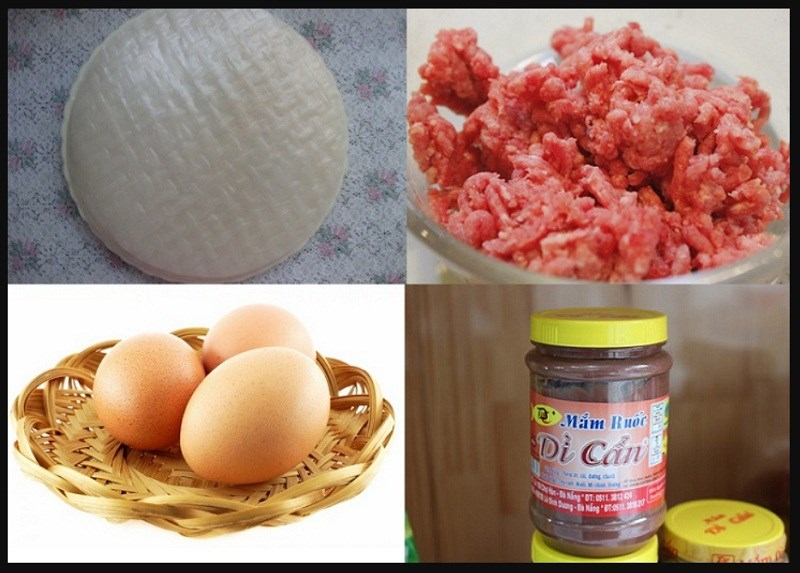 Nguyên liệu món ăn bánh tráng mắm ruốc nướng bếp than và bánh tráng mắm ruốc bằng chảo chống dính