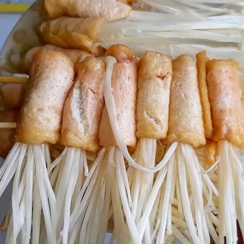 Bước 4 Cuộn nấm Đậu hũ cuộn nấm kim châm nướng